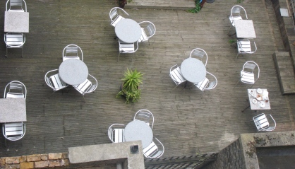 hotel terrace in London, with our breakfast remains on the table